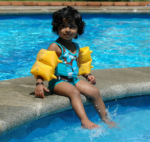 teaching Akshara to swim